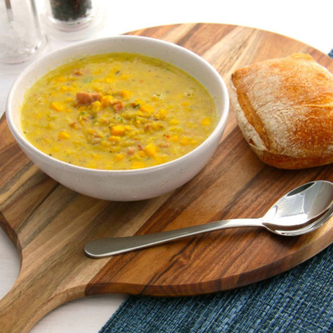 Smoked Bacon, Corn, Leek & Chilli Soup image 0