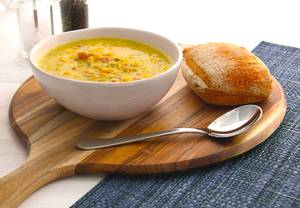 Smoked Bacon, Corn, Leek & Chilli Soup
